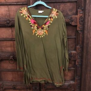 🍁Vici Embroidered Olive Tunic🍂